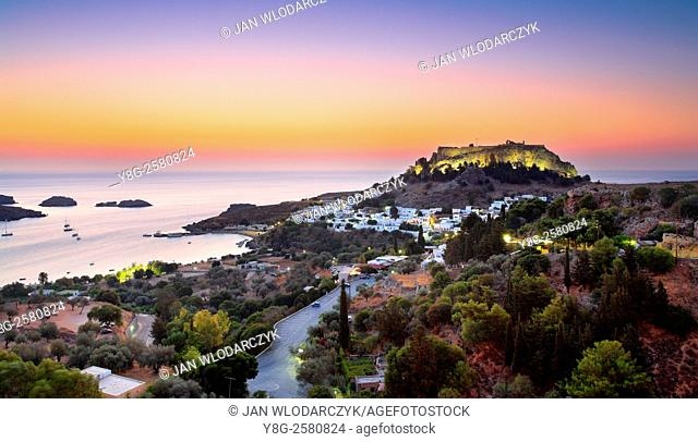 Sunrise time at Lindos and the Acropolis, Rhodes, Greek Dodecanese Island
