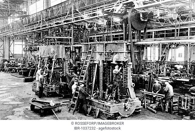 Historic photograph, factory hall, around 1925