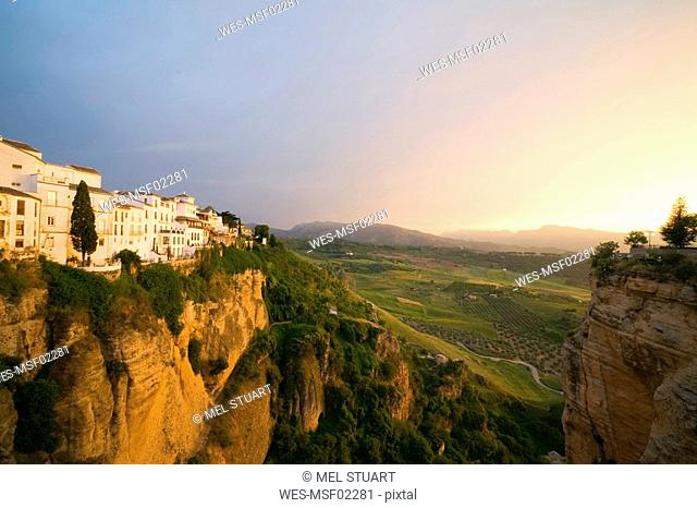 Spain, Andalusia, Ronda, Buildings on rock