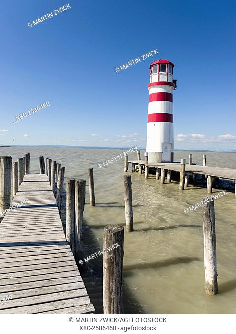 Podersdorf am See on the shore of Lake Neusiedl. The lighthouse in the domestic port, the icon of Podersdorf and Lake Neusiedl