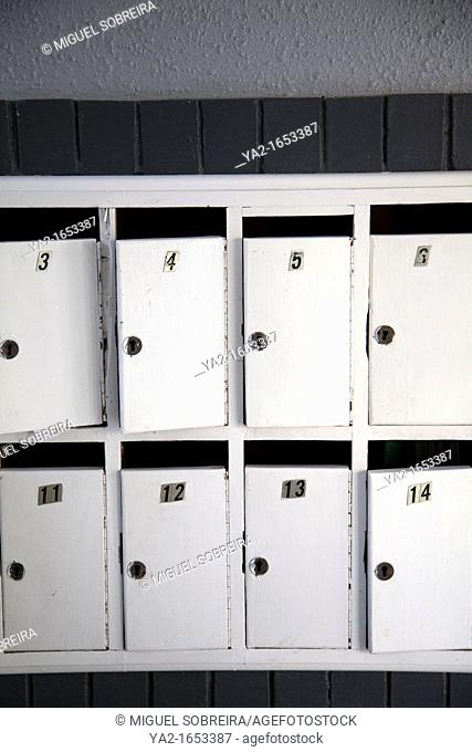 White letterboxes in Apartmnent block lobby