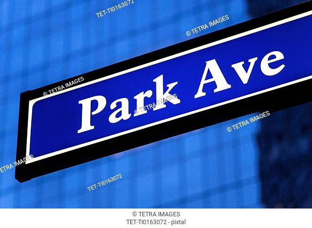 Detail of Park Avenue sign