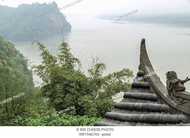 View of the river from the Leshan giant Buddha temple, Sichuan province, China