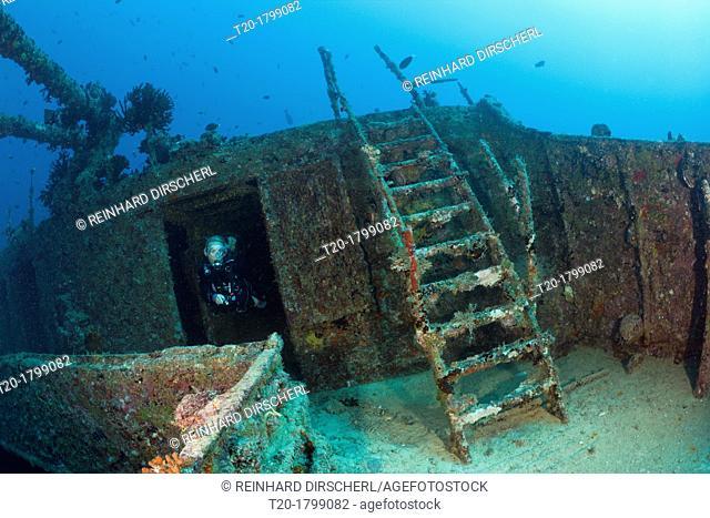 Scuba Diver at Maldive Victory Wreck, North Male Atoll, Indian Ocean, Maldives