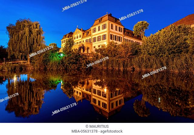 Germany, Bavaria, Lower Franconia, Hammelburg, pond with Rotes Schloss (red castle)