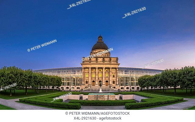 Bayerische Staatskanzlei, Bavarian State Chancellery at evening, Hofgarten garden, Munich, Bavaria, Germany, Europe