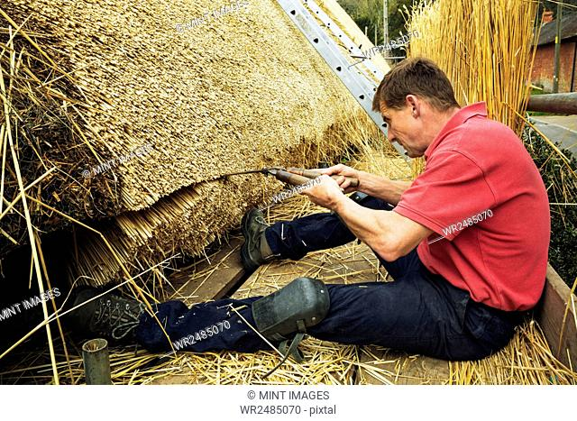 Thatcher trimming straw of a thatched roof with shears