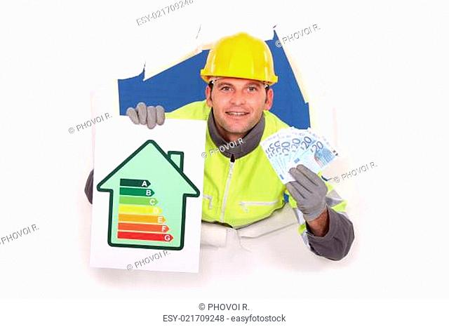 Laborer with energy rating sign