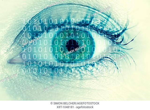 Human Females Eye with Binary Digits