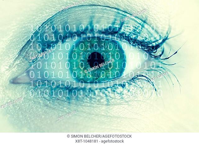 Human Females Eye with Binary Digits