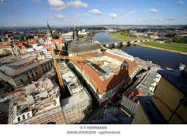 view from Frauenkirche to the city, Hofkirche, Dresden Castle, Bruehl's Terrace and Augustusbruecke, Germany, Saxony, Dresden