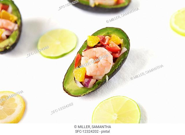 Shrimp ceviche served in a halved avocado