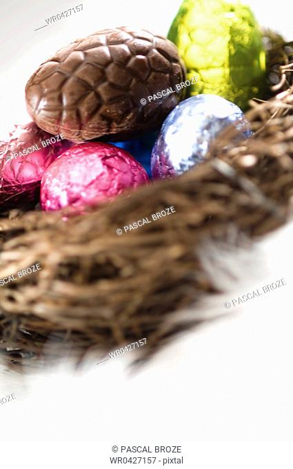 Close-up of Easter eggs in a birds nest
