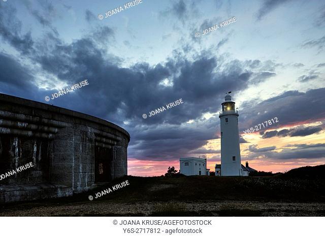 Hurst Point Lighthouse, Solent, Hampshire, England, UK