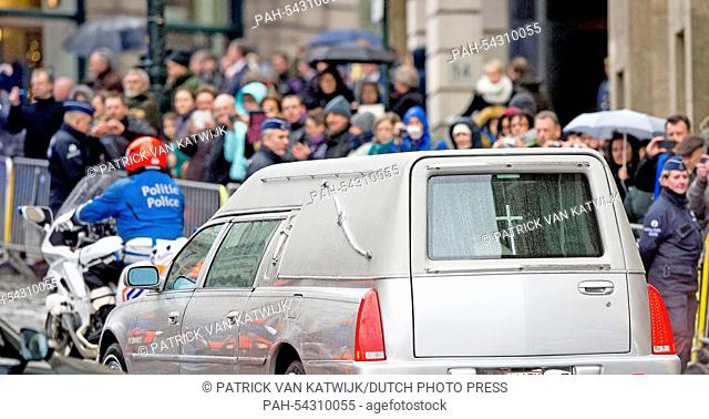 The catafalque leaves the funeral of Belgian Queen Fabiola at the Cathedral of St. Michael and St. Gudula in Brussels, Belgium, 12 December 2014