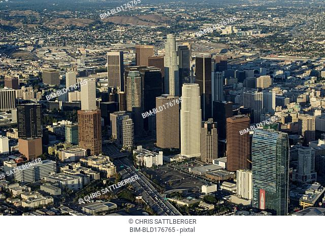 Aerial view of Los Angeles cityscape, California, United States