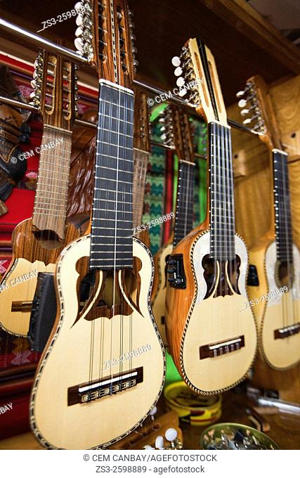 Andean instruments charangos for sale at the music shop, La Paz, Bolivia, South America