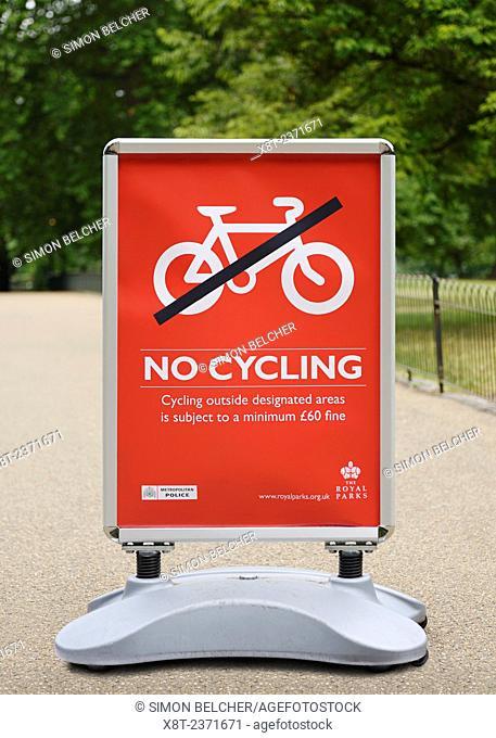 No Cycling Sign, St James Park, London, UK