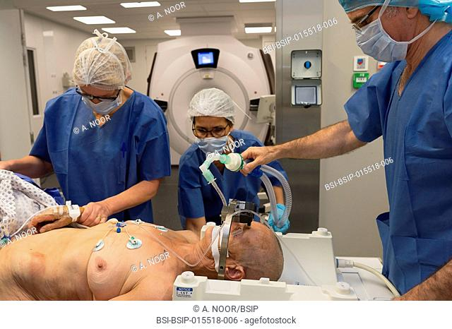 Reportage in the stereotactic neurosurgery operating theatre in Pasteur 2 Hospital, Nice, France. Treating Parkinson's disease through deep brain stimulation