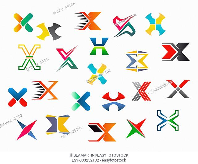 Set of alphabet symbols and elements of letter X