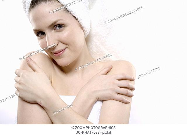 Close up of woman with towel