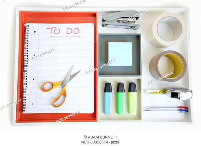 Close-up view of office supplies arranged neatly