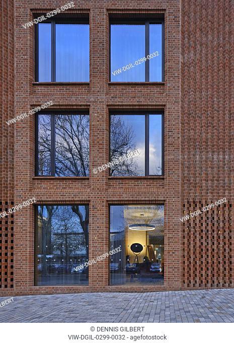 Brick facade with steps to entrance. Newnham College, Cambridge, Cambridge, United Kingdom. Architect: Walters and Cohen Ltd, 2018
