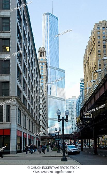 Chicago's Trump Tower through older buildings