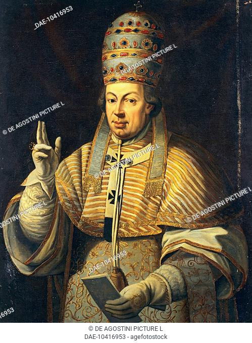 Portrait of Pope Pius VI, born Giovanni Angelico or Giannangelo Braschi (Cesena, 1717-Valence, 1799), Pope Pius VI from 1775, painting by an unknown artist