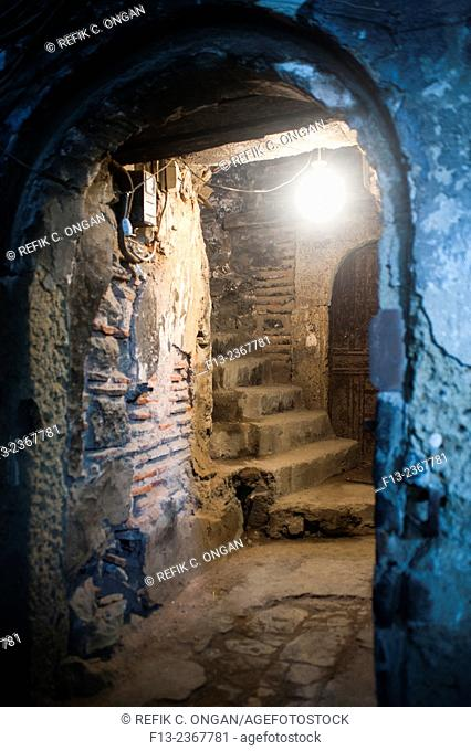 inn with large courtyard indoor stairs In Istanbul Vakif han caravansary, built in Ottoman empire