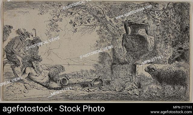 Pan Reclining before a Large Vase - 1645-47 - Giovanni Benedetto Castiglione Italian, 1609-1664 - Artist: Giovanni Benedetto Castiglione, Origin: Italy
