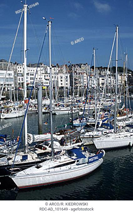 Boats in harbour St. Peter Port Guernsey Channel Islands Great Britain