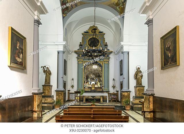 Innenraum der Kapelle Ermita de Betlem bei Arta, Mallorca, Balearen, Spanien   Ermita de Betlem chapel interior near Arta, Majorca, Balearic Islands, Spain