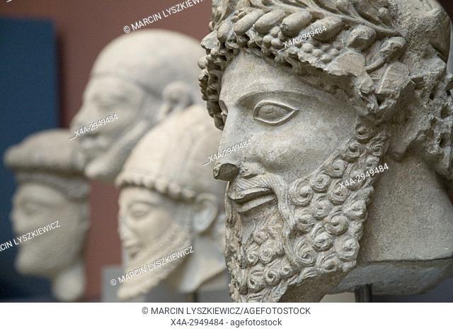 Ancient Sculptures of Men Heads, British Museum, London, England, United Kingdom