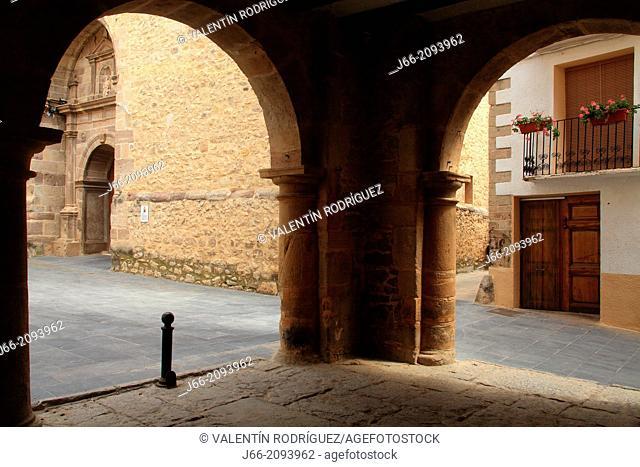 Church Square in Puebla de Arenoso, village of Alto Mijares region, Castellón province, Valencian Community, Spain