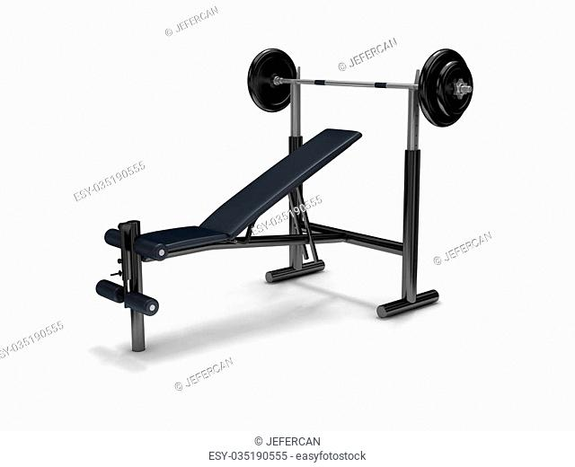 barbell and fitness stool on white background