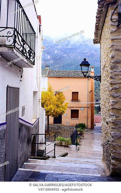 Quatretondeta street with wet ground, Alicante, Valencia, Spain