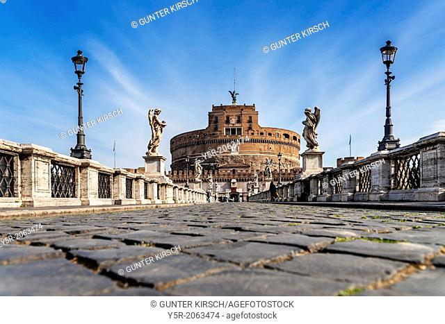 Bridge of Hadrian, Ponte Sant'Angelo and Castle of the Holy Angel, Castel Sant'Angelo, Rome, Lazio, Italy, Europe
