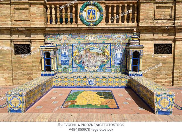One of the tiled Province Alcoves along the walls of The Plaza de Espana , Spain Square, The Maria Luisa Park,Parque de Maria Luisa, Seville, Sevilla, Andalusia