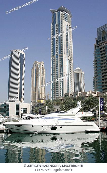 U.A.E., Dubai, yacht, boat at Dubai Marina