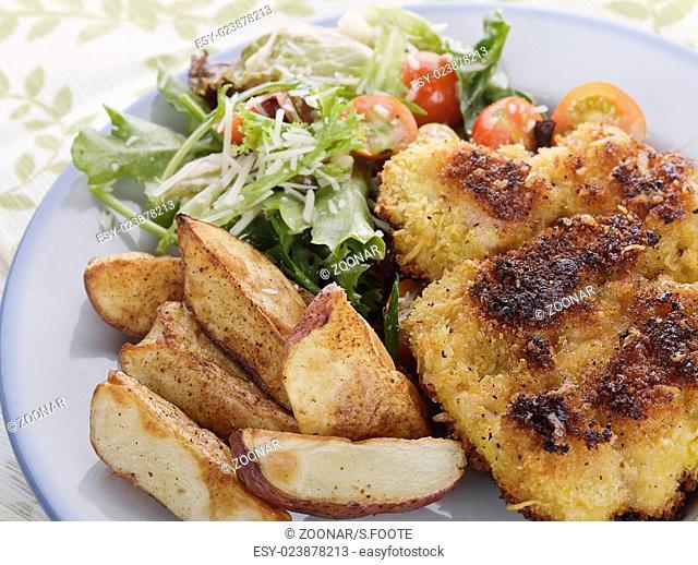 Parmesan Chicken with Salad