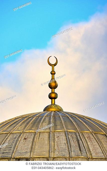 Crescent moon on a mosque