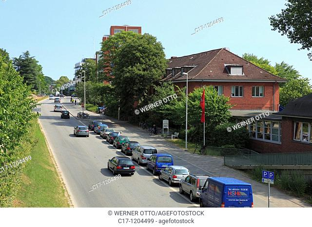 Germany, Kiel, Kiel Fjord, Baltic Sea, Schleswig-Holstein, Seehof at the Duesternbrooker Weg, restaurant and cafe, traffic road, car traffic, parking cars