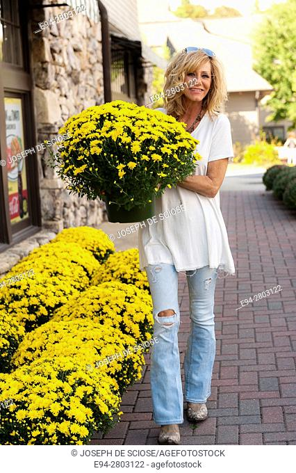 56 year old woman holding a large yellow chysanthemum plant at t plant nursery