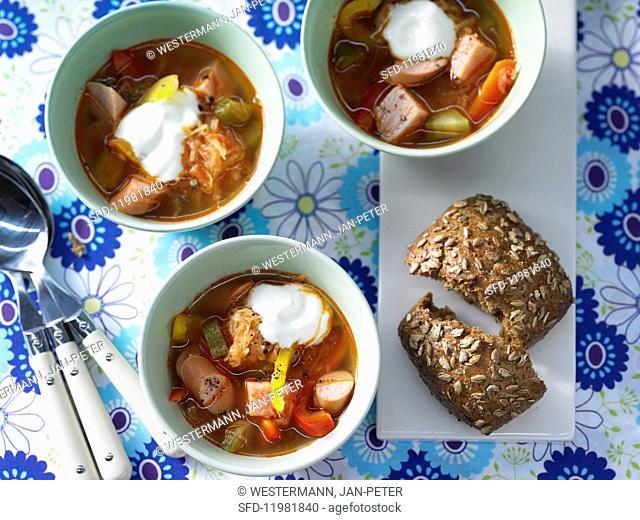 Sauerkraut & pepper soup with sausage