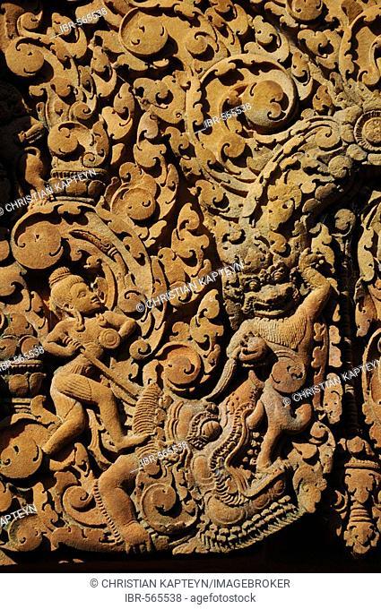 Relief, Banteay Srei Temple, Angkor Wat, Siem Reap, Cambodia