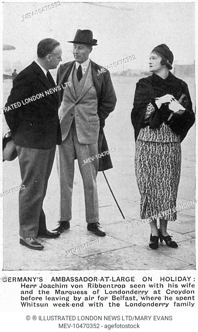 Joachim von Ribbentrop with his wife and the Marquess of Londonderry at Croydon Airport before their departure for Belfast