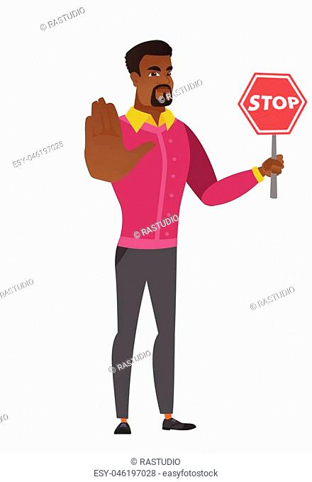 African businessman showing stop road sign. Full length of businessman holding stop road sign. Serious businessman with stop road sign