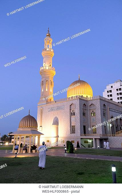 Oman, Muscat, Al Zawawi Mosque at blue hour