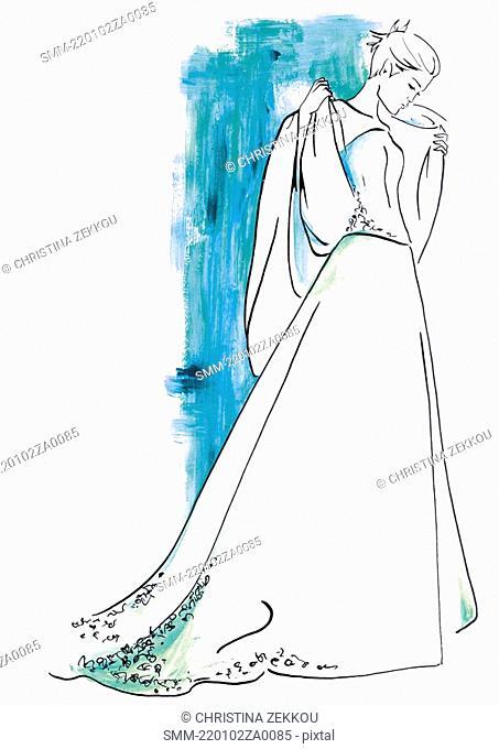 Bride posing in her wedding dress